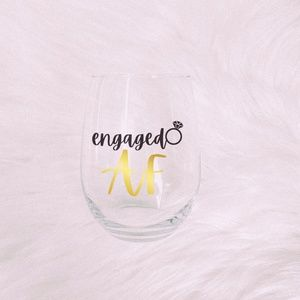 Dreamy+Co ⋆ Handmade Engagement AF Wine Glass ⋆⚝